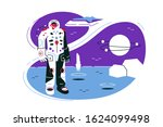 astronaut on lunar mission... | Shutterstock .eps vector #1624099498