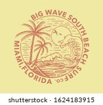 palms  beach  big waves and sun ...   Shutterstock .eps vector #1624183915