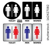 Toilet or restroom sign with text Toilet, Men and Women.-eps10 vector