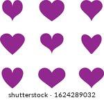 Purple Heart Icon Vector. Flat...