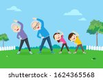 senior people and children... | Shutterstock .eps vector #1624365568