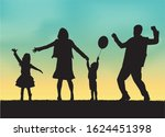 family black silhouettes ... | Shutterstock .eps vector #1624451398