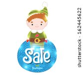 christmas elf and sale label | Shutterstock .eps vector #162445622