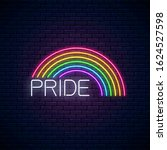 neon lgbt rainbow with pride...   Shutterstock .eps vector #1624527598