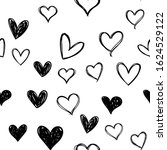 heart doodles seamless pattern. ... | Shutterstock .eps vector #1624529122