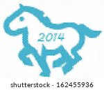 2014 year of the blue horse.... | Shutterstock .eps vector #162455936