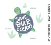 cute cartoon turtle. stop... | Shutterstock .eps vector #1624688098