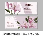 hand drawn purple lily and ... | Shutterstock .eps vector #1624759732