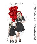 mom and daughter in identical... | Shutterstock .eps vector #1624924678