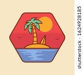 simple logo badge beach design  ... | Shutterstock .eps vector #1624928185