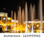 Small photo of YEREVAN, ARMENIA - MAY 31, 2019: Singing fountains spurt at Republic square at night.