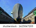 Bulbous Bow Battleship Moored...