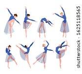 set dancing ballerinas. jumping ... | Shutterstock .eps vector #1625118565