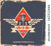 vintage air force label with pilot (T-Shirt Print)