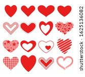 set of red vector hearts icons. | Shutterstock .eps vector #1625136082