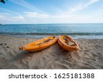 two colorful orange kayaks on a ... | Shutterstock . vector #1625181388