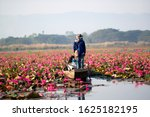 Rear view of man paddling Rowboat in the Red lotus lake at thailand For tourist services.