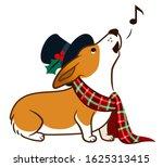 Corgi Dog Singing Chrismas...