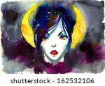 mythical woman portrait on... | Shutterstock . vector #162532106