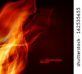 Abstract Fire Flames On A Black ...