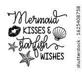 mermaid kisses and starfish... | Shutterstock .eps vector #1625408758