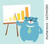 bear officer presents his graph | Shutterstock .eps vector #162544382