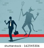 Abstract Businessman is the Devil in Disguise. Vector illustration of Retro styled Businessman who's shadow reveals him to be somebody quite sinister in the form of a Dancing Devil. - stock vector