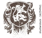 vector retro shield with lion
