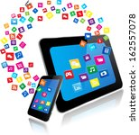 tablet pc and smart phone with... | Shutterstock .eps vector #162557078