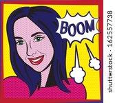 pop art girl   boom explosion... | Shutterstock .eps vector #162557738