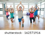 fitness class and instructor... | Shutterstock . vector #162571916