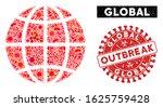 outbreak collage planet globe... | Shutterstock .eps vector #1625759428