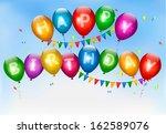 happy birthday balloons....   Shutterstock . vector #162589076