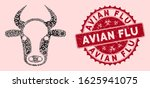 Fever mosaic cow head icon and rounded distressed stamp seal with Avian Flu caption. Mosaic vector is formed with cow head icon and with randomized virus symbols. Avian Flu stamp seal uses red color,