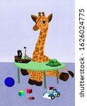 baby giraffe playing at the...   Shutterstock . vector #1626024775