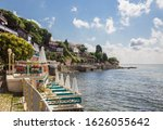 Outdoor cafes and restaurants on the Black sea coast in old town of Nessebar. Sea resort in Bulgaria