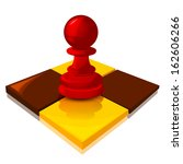 red pawn on the chessboard ... | Shutterstock .eps vector #162606266