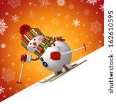 3d skiing snowman  sliding... | Shutterstock . vector #162610595