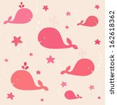 cute pink whales with start in... | Shutterstock .eps vector #162618362