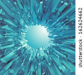 3d Blue Crystal Shape  Abstrac...