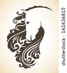Stock vector ornamental decorative horse with a beautiful mane 162636815
