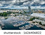 Panorama of marina in Gdynia Poland. Sea Tower view.
