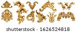 Golden baroque ornament on...