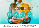 Small photo of Handwriting text writing Corporate Flunky. Concept meaning someone who works obediently for another demonstrating in company.