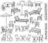 hand drawn garden furniture.... | Shutterstock .eps vector #1626630985