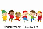 group of kids playing | Shutterstock .eps vector #162667175