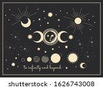 moon phases mystical vector... | Shutterstock .eps vector #1626743008
