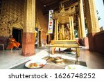 Small photo of Luang Prabang, Laos - January 29, 2015: An altar, built for celebrations of Lao New Year to pay tribute to the holy Pra Bang Buddha at Buddhist temple in Luang Prabang, Laos.