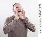 man calling  screaming good news | Shutterstock . vector #162681272