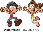 happy cartoon kids excited and... | Shutterstock .eps vector #1626876778